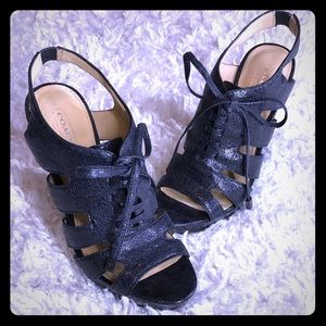 COACH- SEXY LACE UP WITH BLOCK HEEL